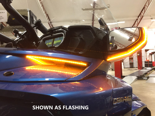 "CAN AM SPYDER 2019-UP F3T/LTD AMBER MIRROR  & SIDE VENT ""STAY-ON"" RUNNING/TURN SIGNALS COMBO PACKAGE (SPY368)"