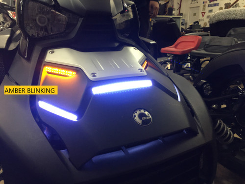"RYKER STANDARD HOOD 5-PIECE BRIGHT WHITE LED WITH AMBER RUNNING LIGHTS WITH TOP AMBER ""STAYON"" TURN SIGNALS (SPY369)"