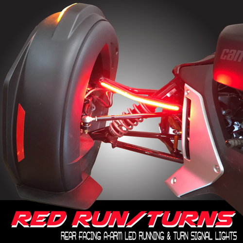 RYKER-OPTICS RED/RUN/TURN STAY-ON UPPER A-ARM REAR VIEW LED SIGNAL COMPLETE KIT (STAND ALONE) COMES WITH FENDER HARNESS FOR POWER & SIGNALS, PLUG/PLAY (SPY387)