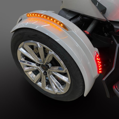 2020-UP RT & 2019 - UP F3 FENDER REFLECTOR LED KIT WITH BUILT-IN TURN SIGNALS TESTED ON OUR BENCH FOR FLAWLESS INSTALLS. PLUG/PLAY READY. (SPY385)
