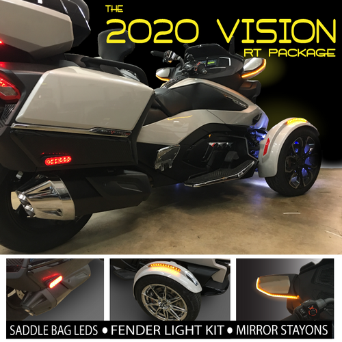 2020-UP CAN AM SPYDER RT 2020 VISION LED LIGHT PACKAGE. INCLUDES FENDER AMBER RUN/TURN, MIRROR AMBER RUN/TURN STAY-ON'S & RED SADDLE BAG RUN/TURN LED'S.(SPY402)