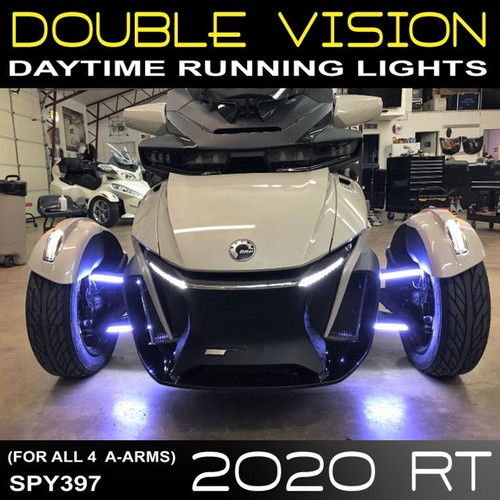 2020 CAN AM SPYDER RT DOUBLE VISION DAYTIME RUNNING LED LIGHTS (2-PAIR) FOR THE FRONT A-ARMS (SPY397)