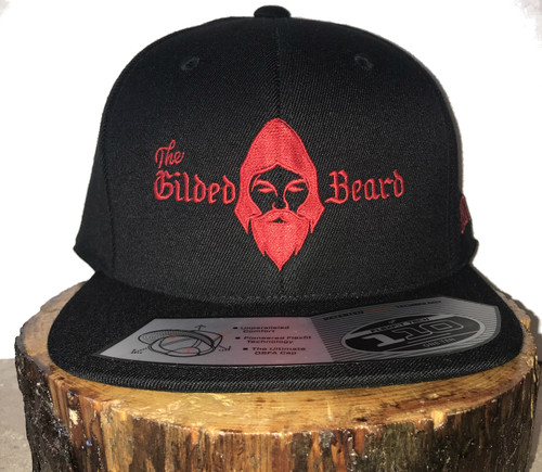 The Gilded Beard Black snapback hat w/Red Logo