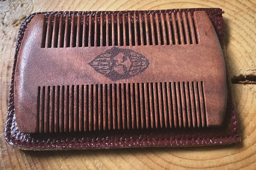 Sandalwood Comb and Leather Carry Case