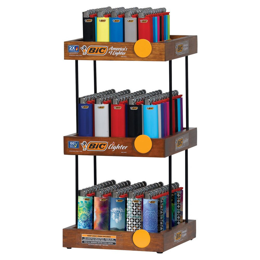 Bic 3-Tier Display with 3 Trays of Lighters (2 Classic, 1 Mini)