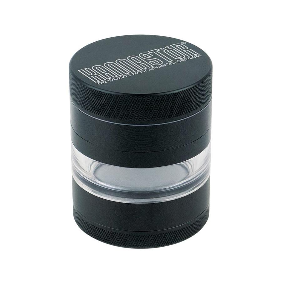 "2.2"" 4-Piece Black Solid Top & Jar Body Grinder by Kannastor"