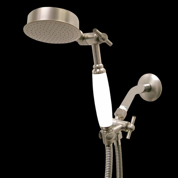 Premium Series Hand Held Wonder Shower head Brushed Nickel w/White Porcelain Handle