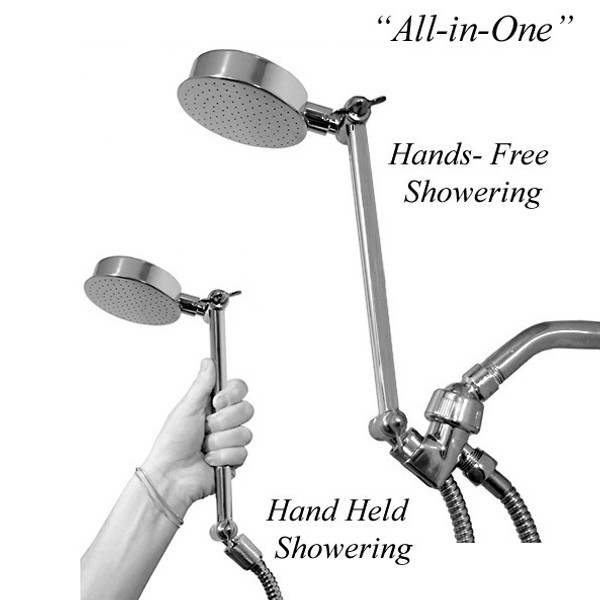 The All-in-One Wonder Shower is a fully adjustable shower as well as a fully functional hand shower all in one unit.  Adjust Wonder Shower hi or low to a position that's good for you! Becomes a hand held shower when you pick it up from mount bracket ALL-IN-ONE Shower