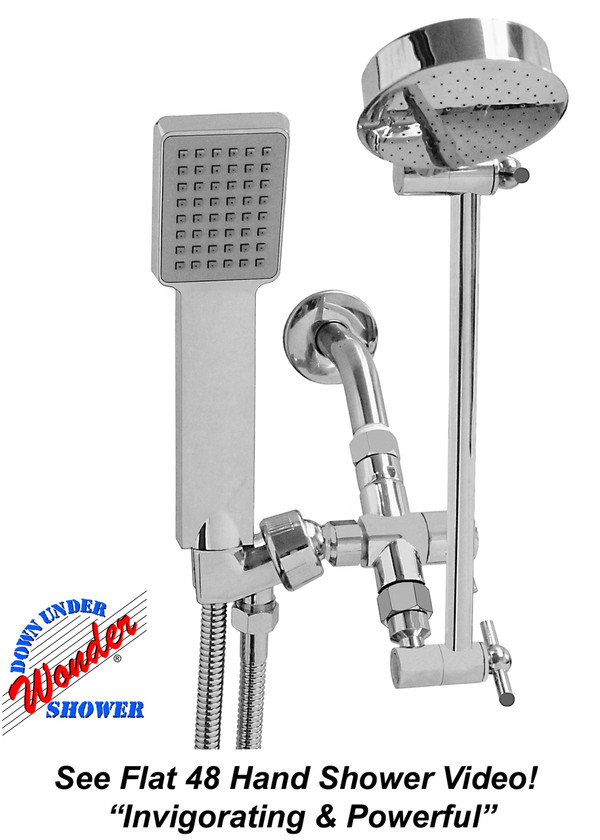 "Wonder Shower System w/New Contemporary ""Flat 48"" Hand Shower"