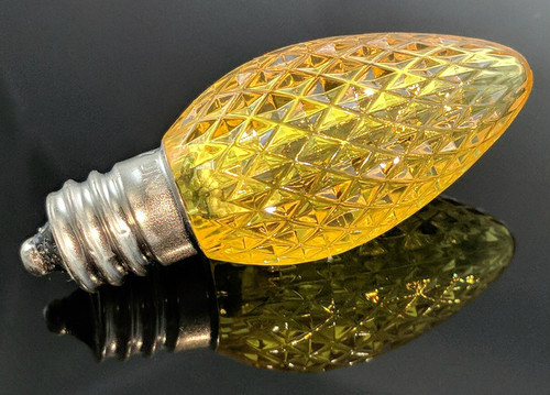 Super Bright Yellow C7 LED Faceted Bulb