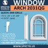 ARCH2031QG Arch Top Decorative Window with Queen Ann Grille