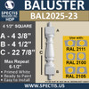 "BAL2025-23 Urethane Baluster or Spindle 4 1/2""W X 22 7/8""H"
