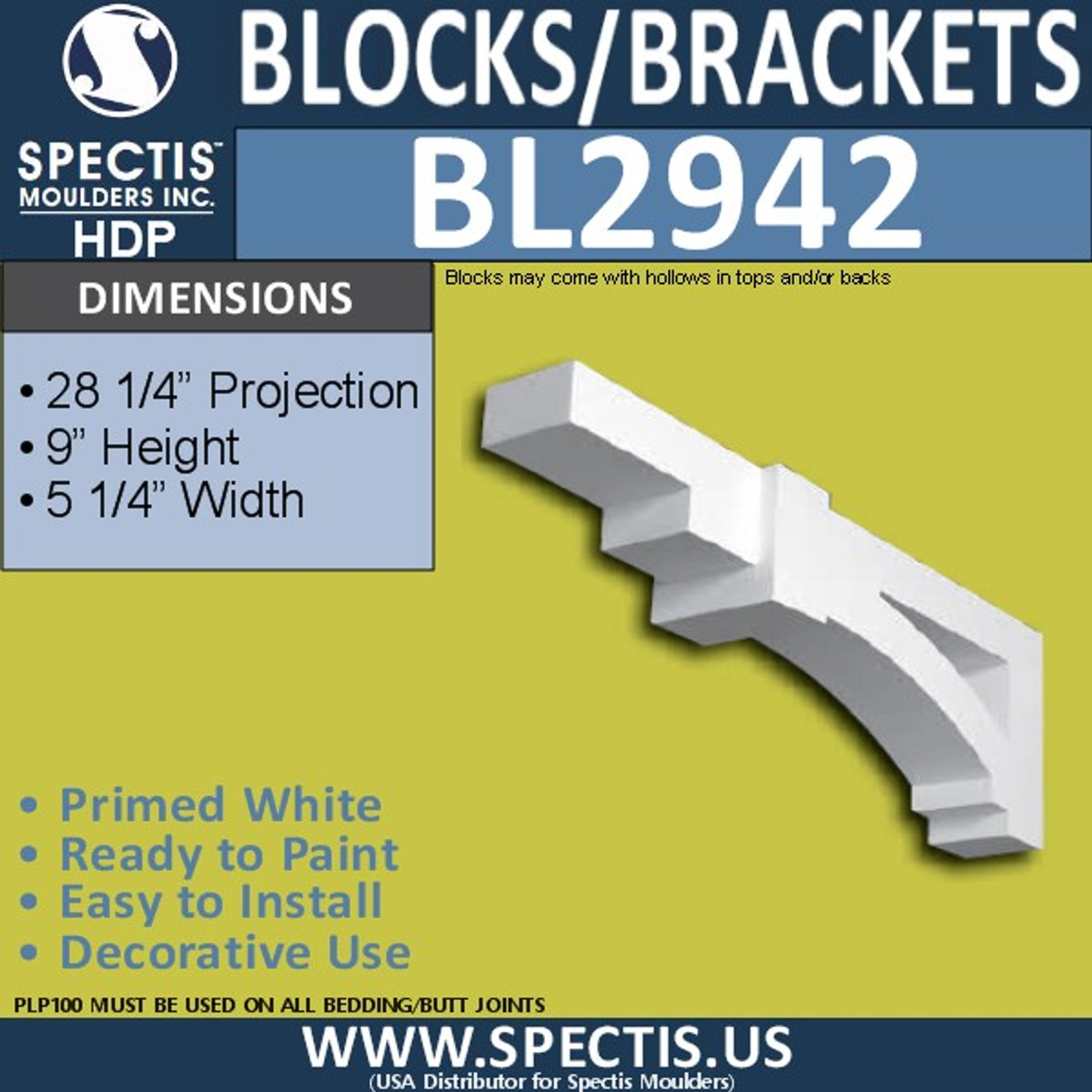 "BL2942 Eave Block or Bracket 5.25""W x 28.25""H x 9"" P"