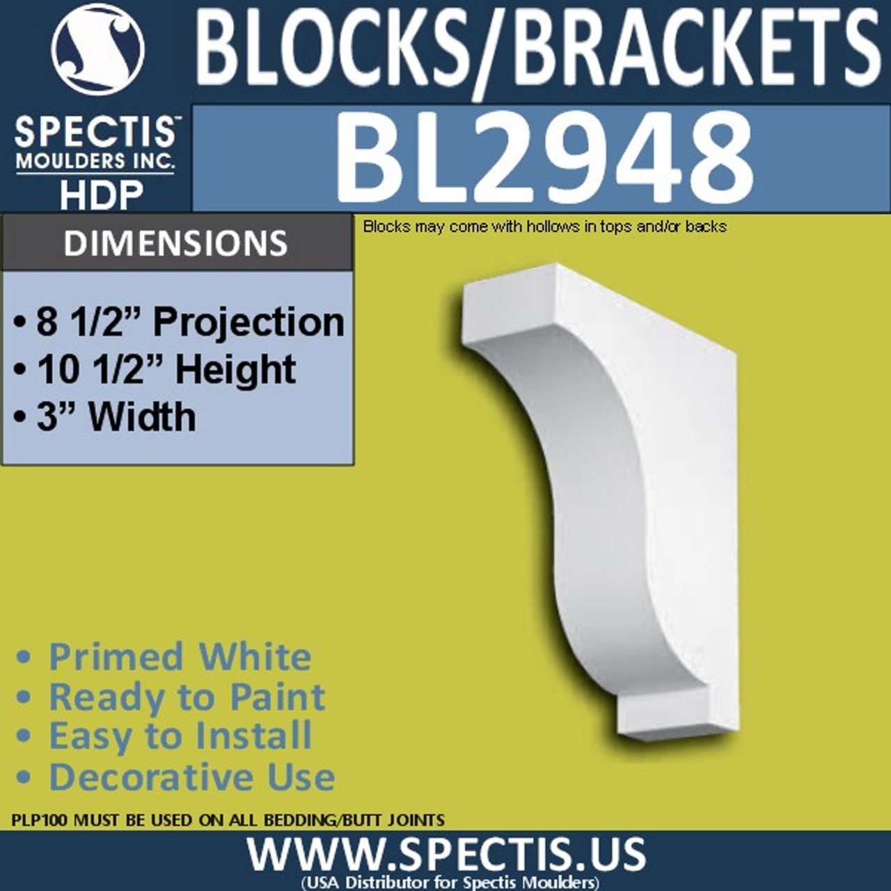 "BL2948 Eave Block or Bracket 3""W x 8.5""H x 8.5"" P"