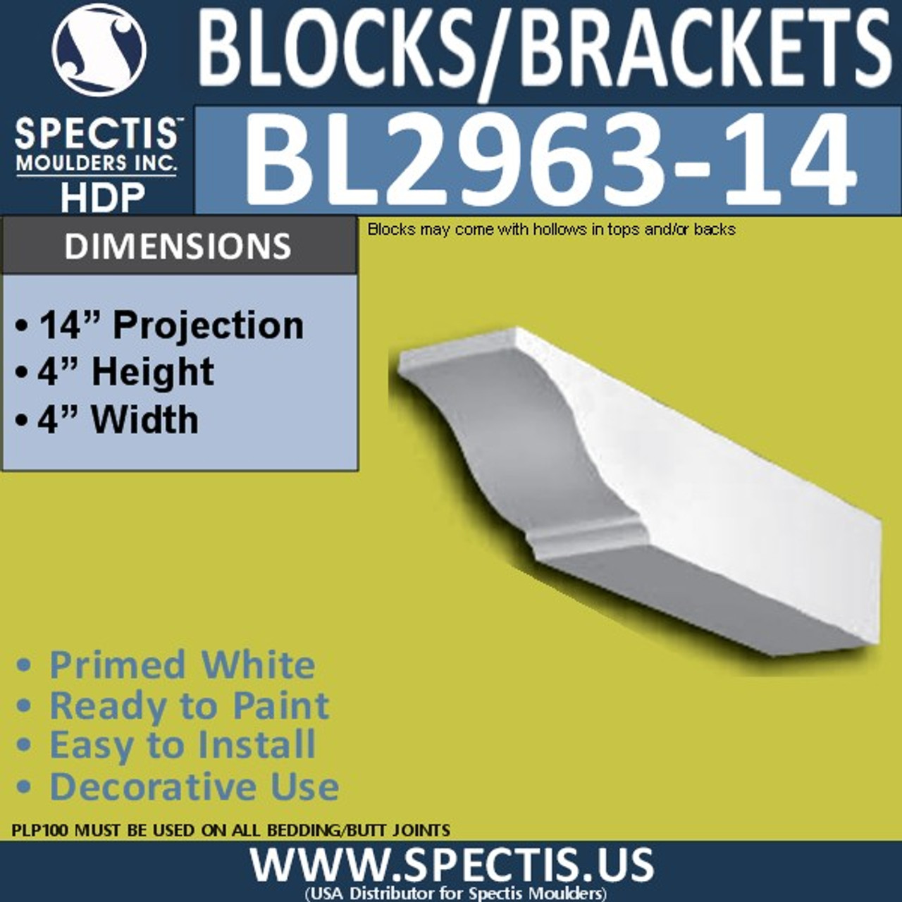 "BL2963-14 Eave Block or Bracket 4""W x 4""H x 14"" P"