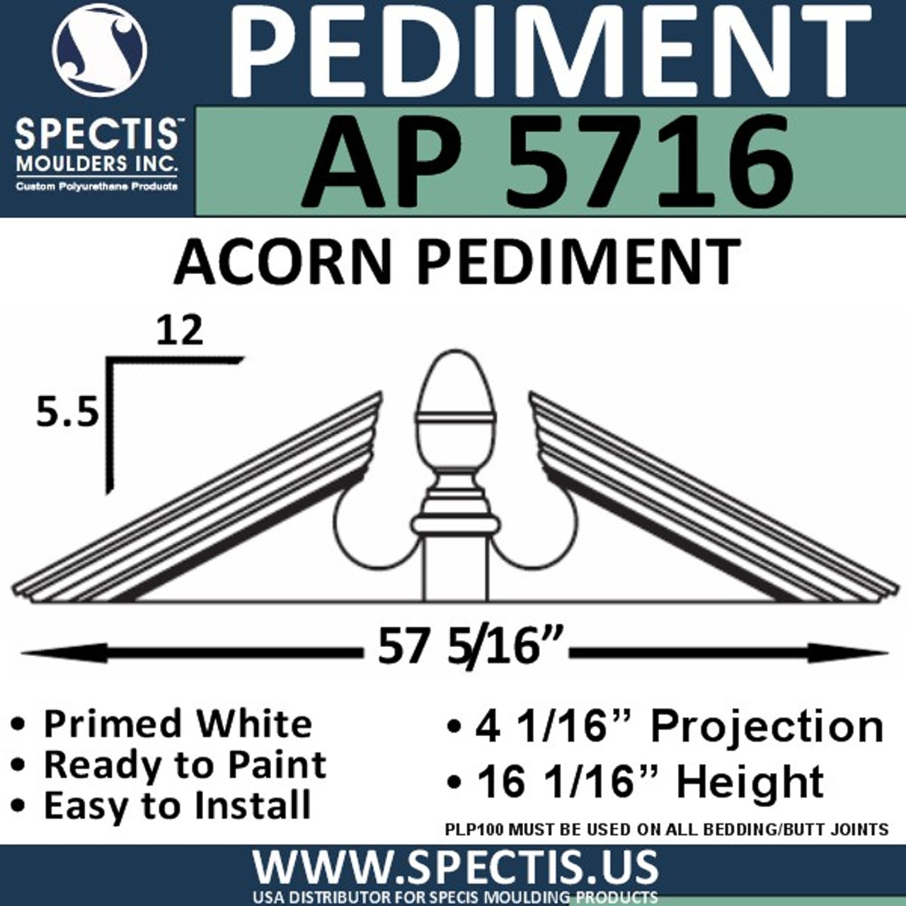 "AP5716 Acorn Pediment for Window/Door 57 5/16"" x 16 1/16"""