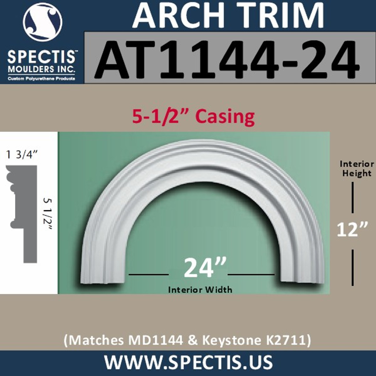 """AT1144-24 Arch Circle Top 5.5"""" Wide Casing 24"""" Opening"""