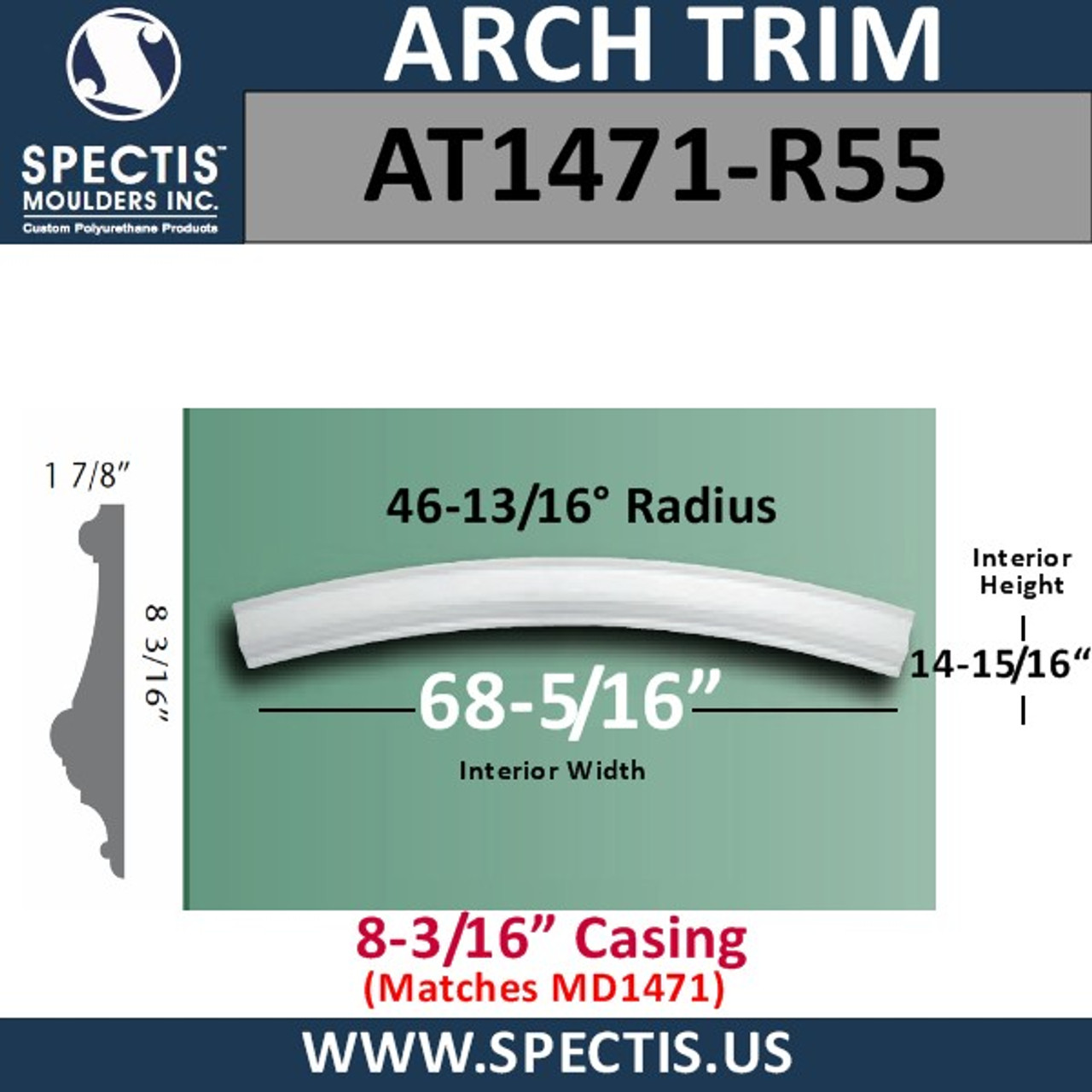 "AT1471-R55 Arch Moulding 8-3/16"" Casing 46 13/16 Radius"