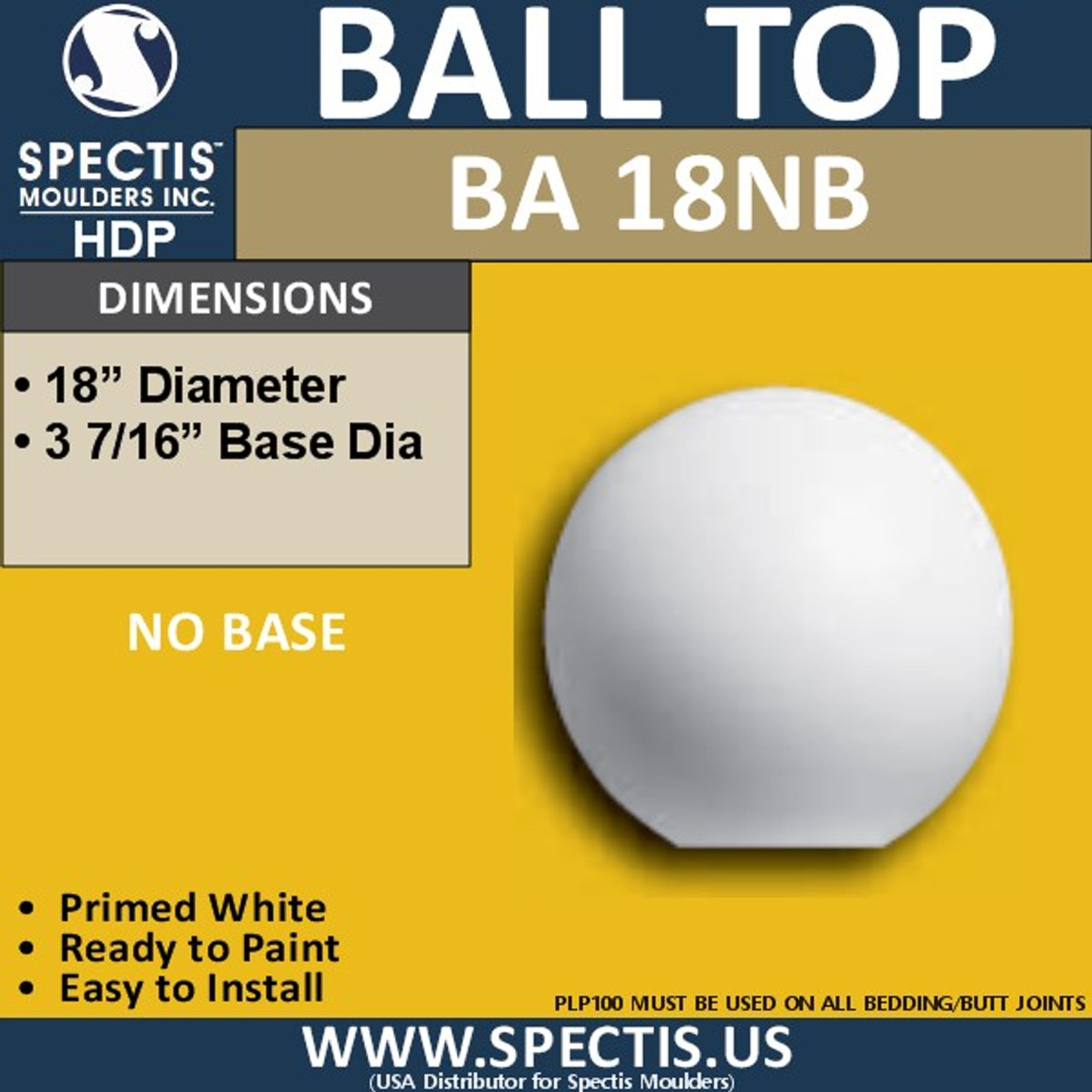 "BA18NB Urethane Ball Cap with No Base 18"" Wide"