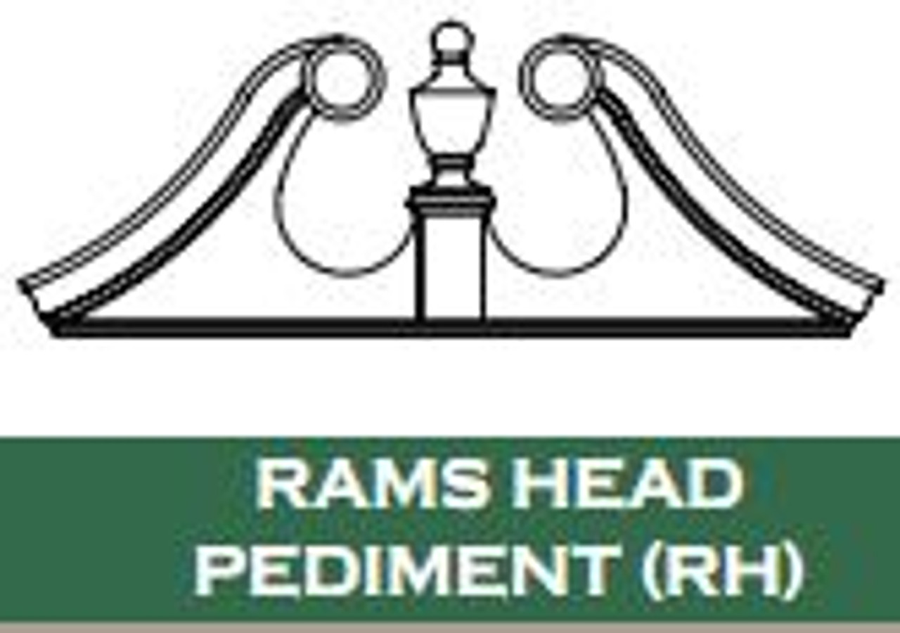 "Pediments | 53 1/2"" x 19 1/2"" Rams Head Pediment RH5319"