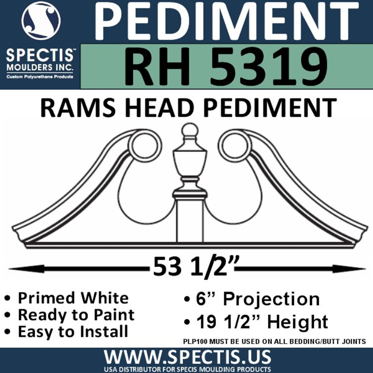 "RH5319 Rams Head Window/Door Pediment 53 1/2"" x 19 1/2"""
