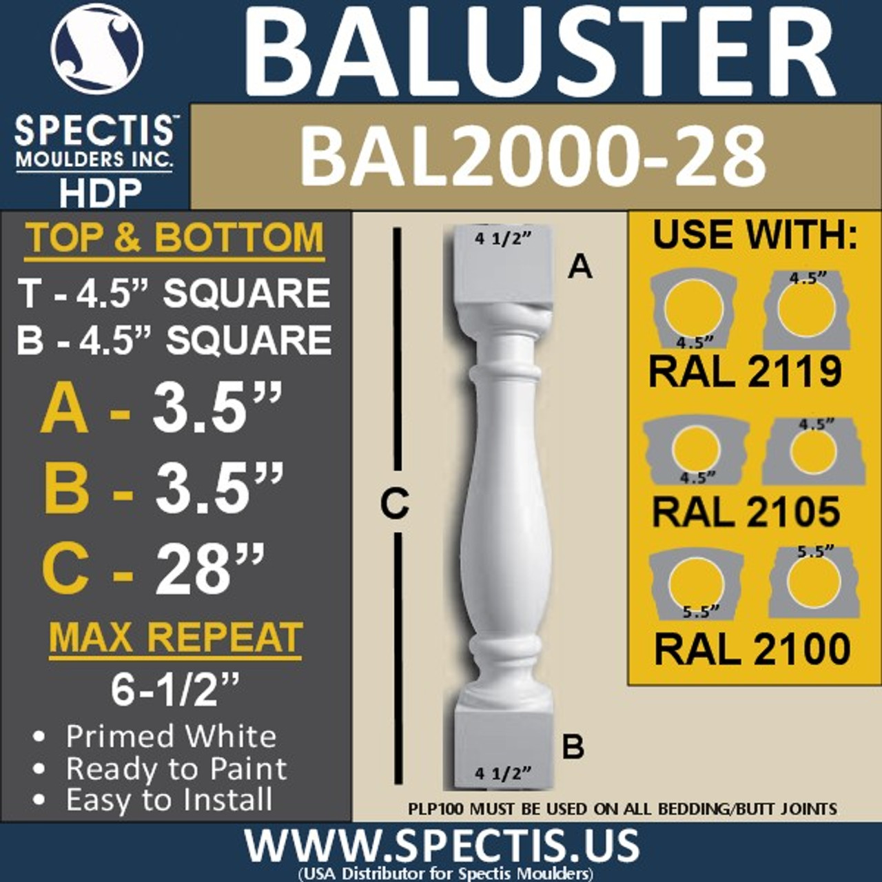 "BAL2000-28 Urethane Baluster or Spindle 4 1/2""W X 28""H"