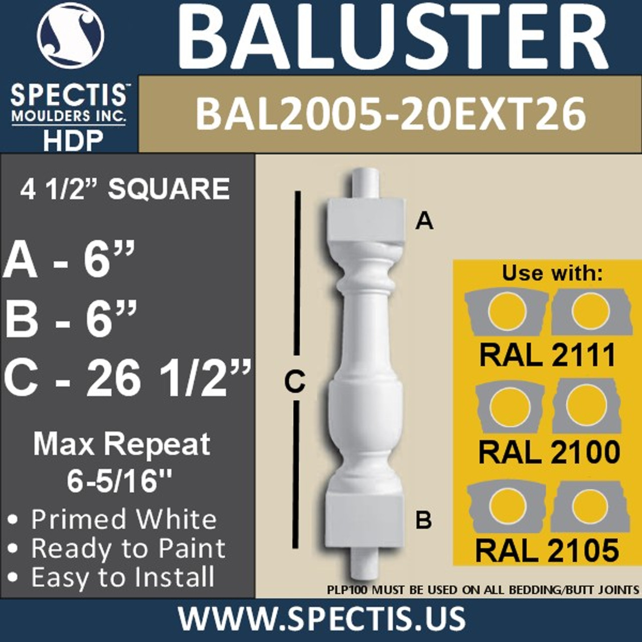 "BAL2005-20EXT26 Urethane Baluster or Spindle 4 1/2""W X 26""H"