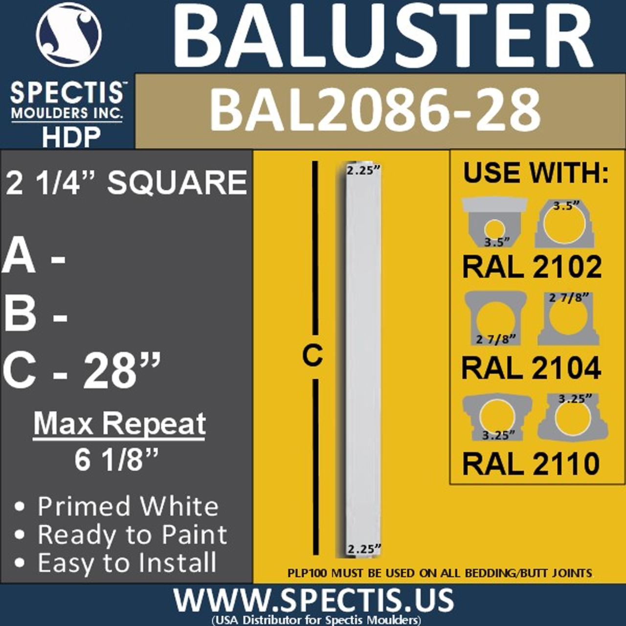 "BAL2086-28 Spectis Square Picket Railing Baluster 2 1/4"" x 28"""