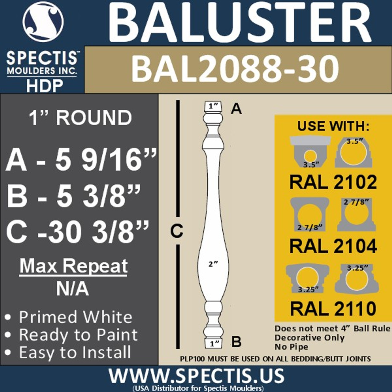 "BAL2088-30 Traditional Urethane Railing Baluster 2"" x 30"""