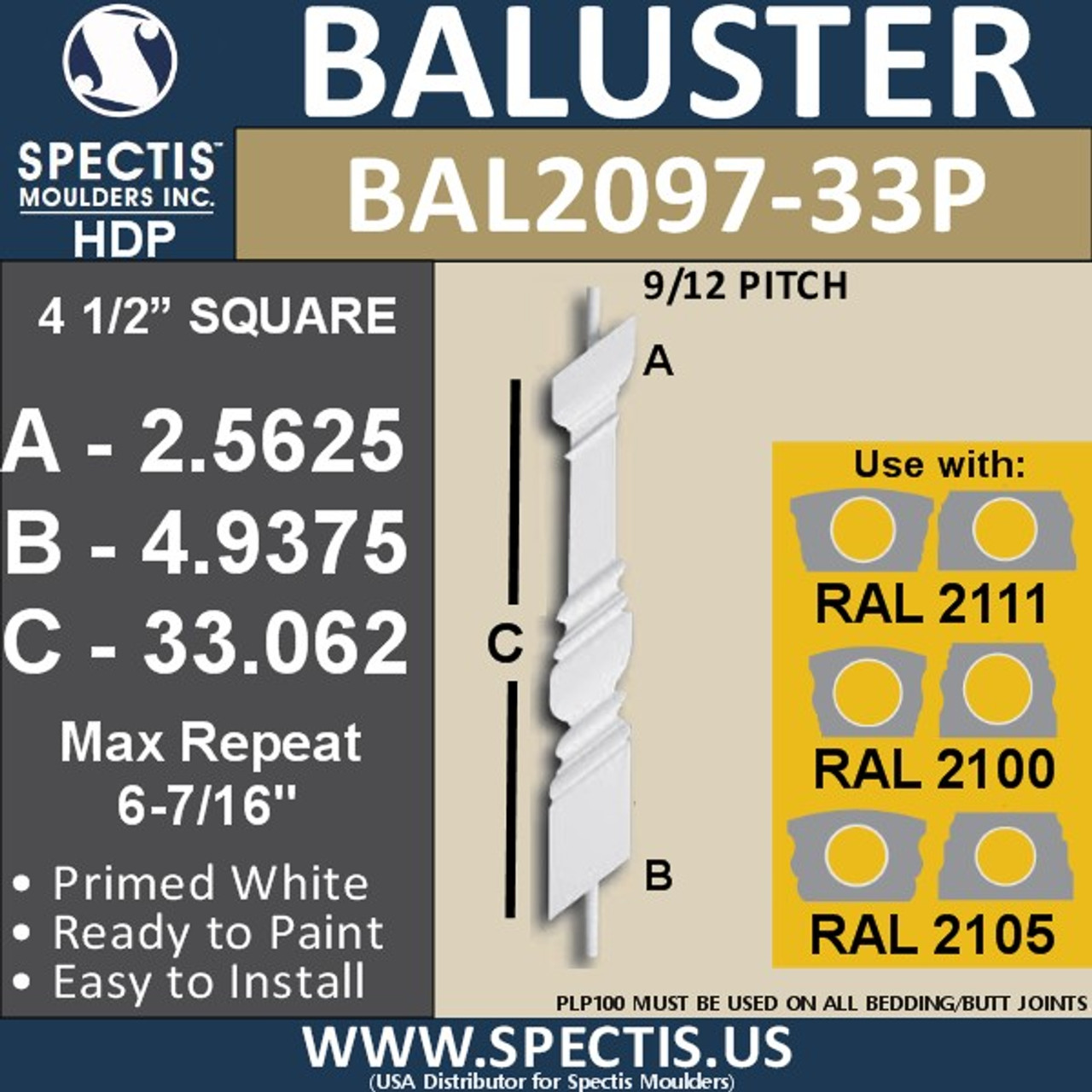 "BAL2097-33P 9/12 Pitch Railing Baluster 4 1/2"" x 33 1/16"""