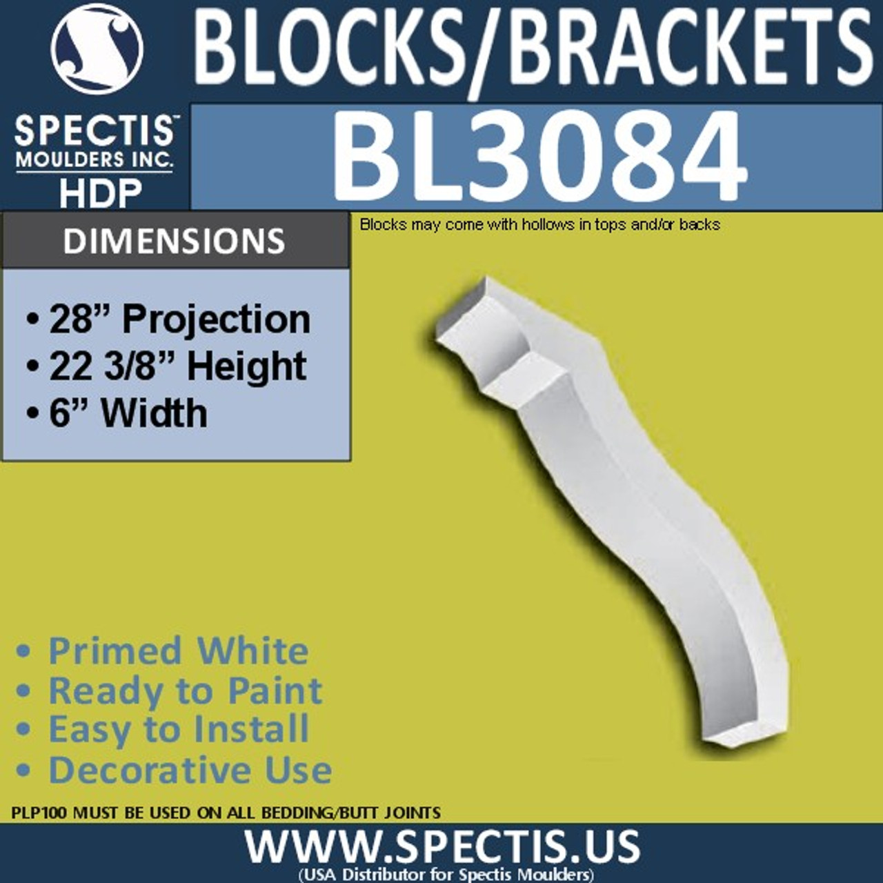 "BL3084 Eave Block or Bracket 6""W x 22.38""H x 28"" P"