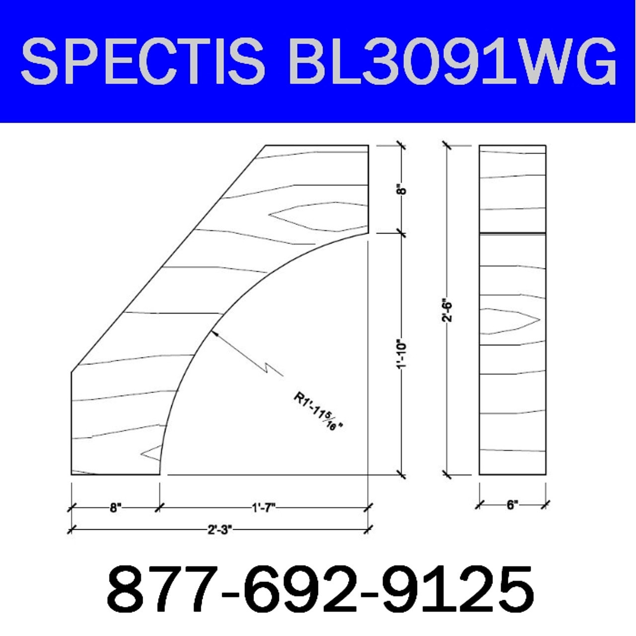 "BL3091WG Spectis Eave Block or Bracket 6""W x 32""H x 27"" Projection"