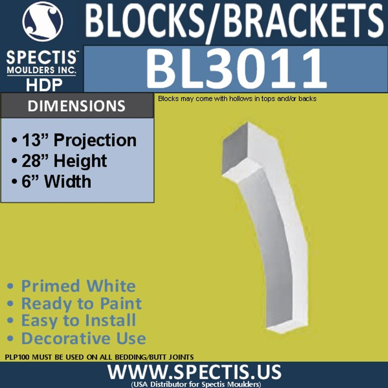 "BL3011 Eave Block or Bracket 6""W x 28""H x 13"" P"