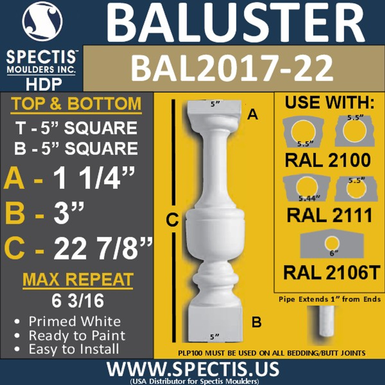 "BAL2017-22 Urethane Baluster or Spindle 5""W X 22 7/8""H"