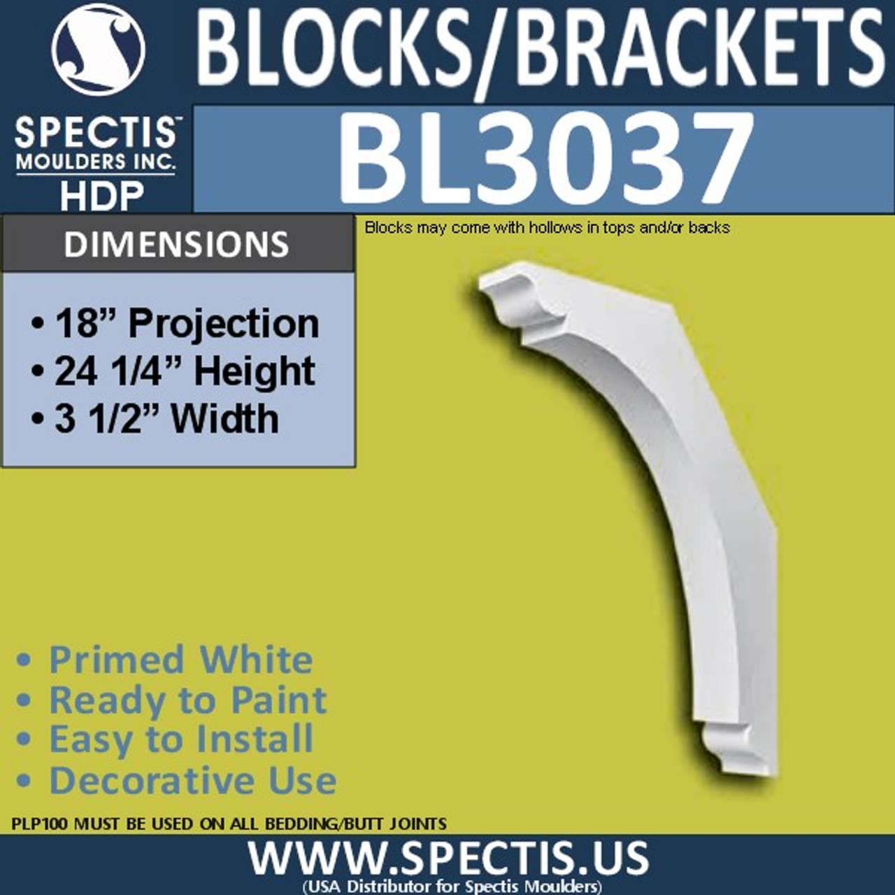 "BL3037 Eave Block or Bracket 3.5""W x 24.25""H x 18"" P"