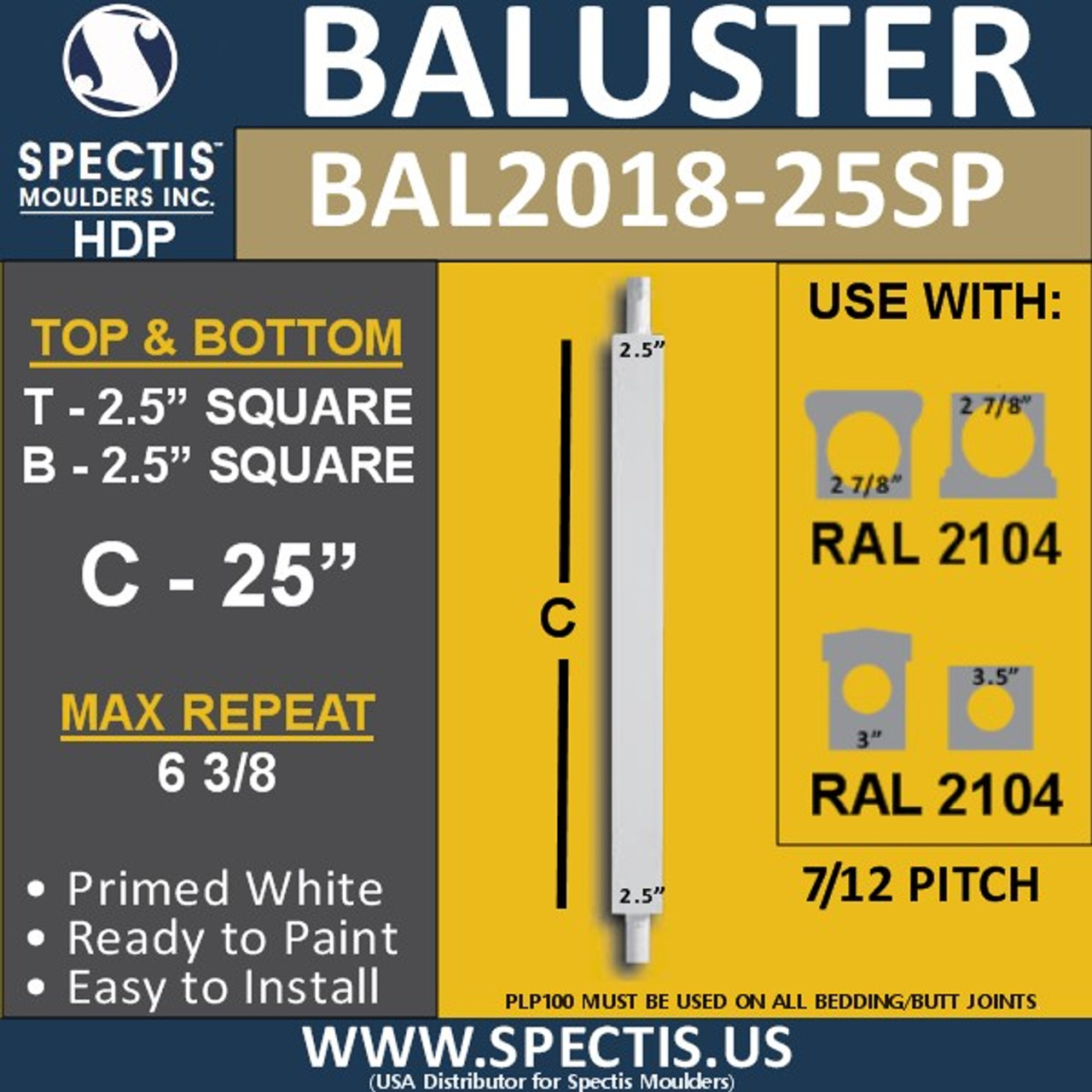 "BAL2018-25P Urethane 7/12 Pitched Baluster 2 1/2""W X 25""H"