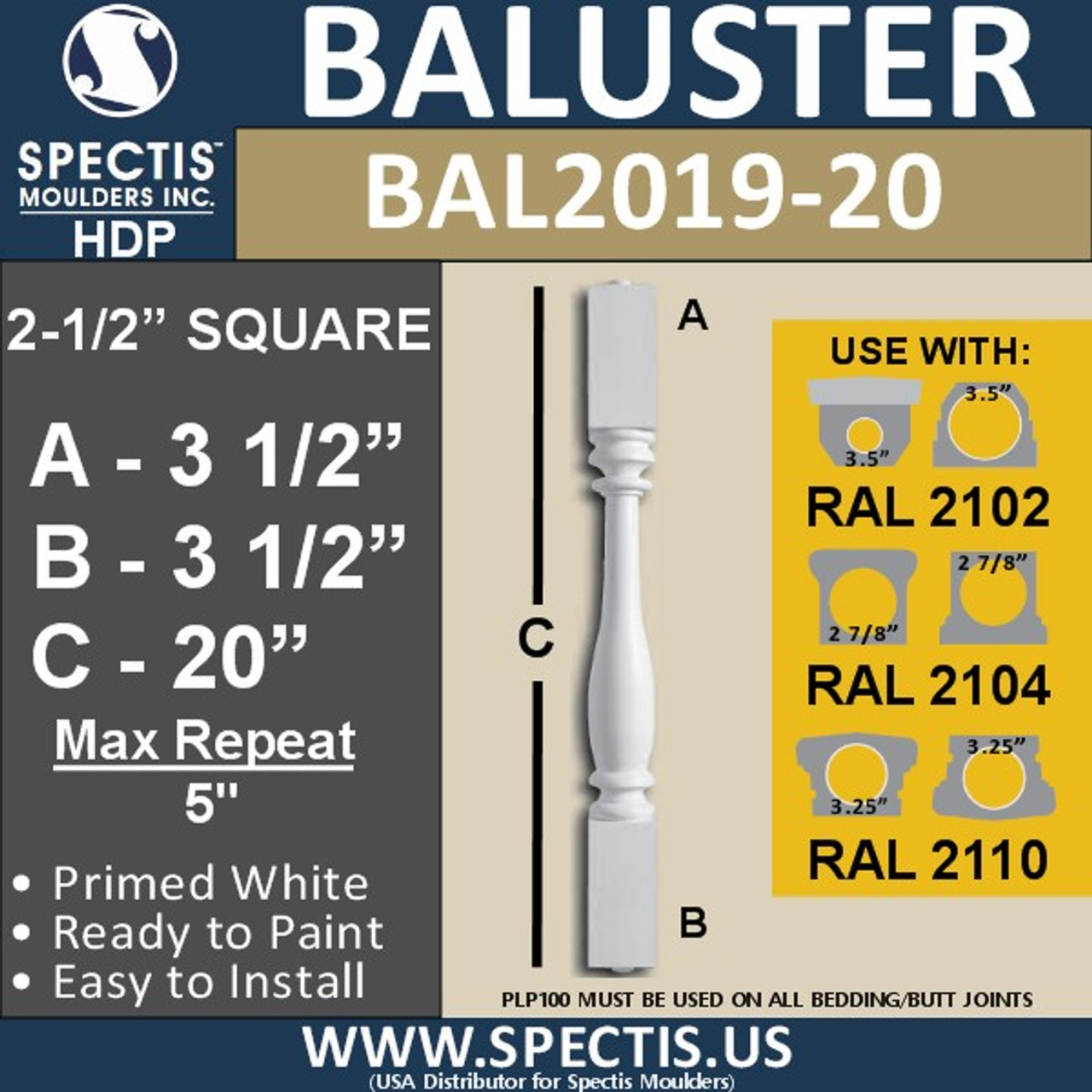 "BAL2019-20 Urethane Baluster or Spindle 2 1/2""W X 20""H"