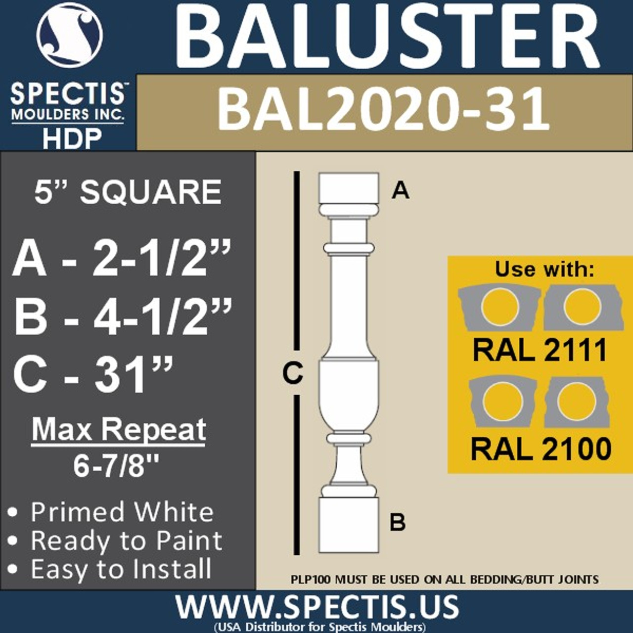 "BAL2020-31 Urethane Baluster or Spindle 5""W X 31""H"