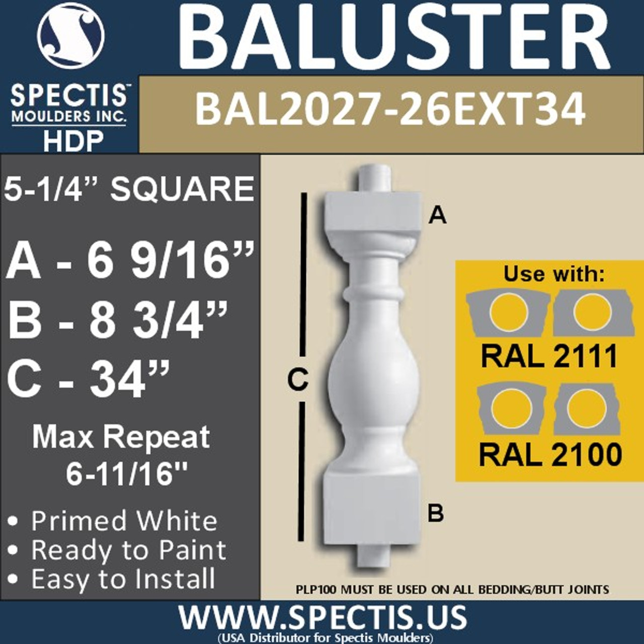 """BAL2027-26EXT34 Urethane Extended Baluster 5 1/4""""W X 34""""H"""