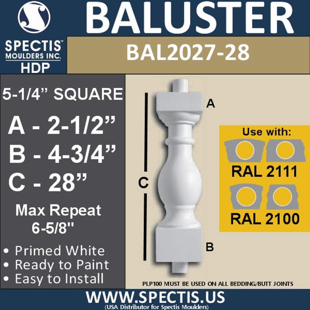 """BAL2027-28 Urethane Baluster or Spindle 5 1/4""""W X 28""""H"""