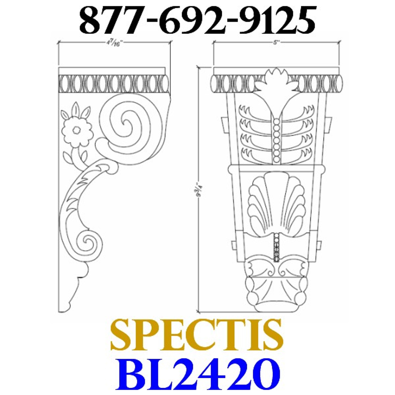 """BL2420 Spectis Eave Block or Bracket BL 2420 • 4 1/4"""" Projection • 9 3/4"""" Height • 5"""" Width"""