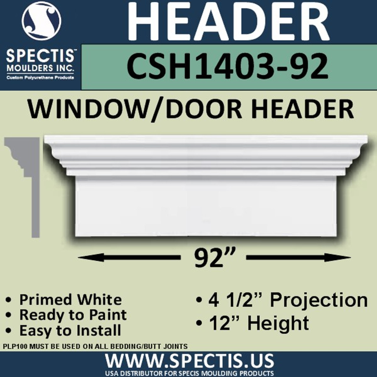 "CSH1403-92 Crosshead for Window/Door 4.5""P x 12""H x 92""W"