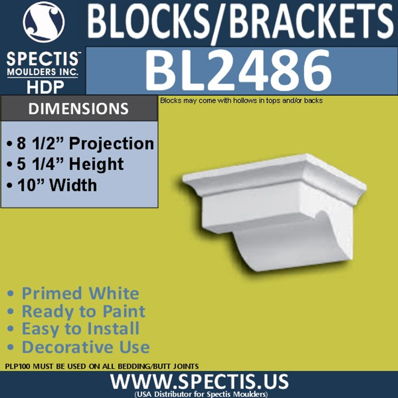 "BL2486 Eave Block or Bracket 10""W x 5.25""H x 8.5"" P"