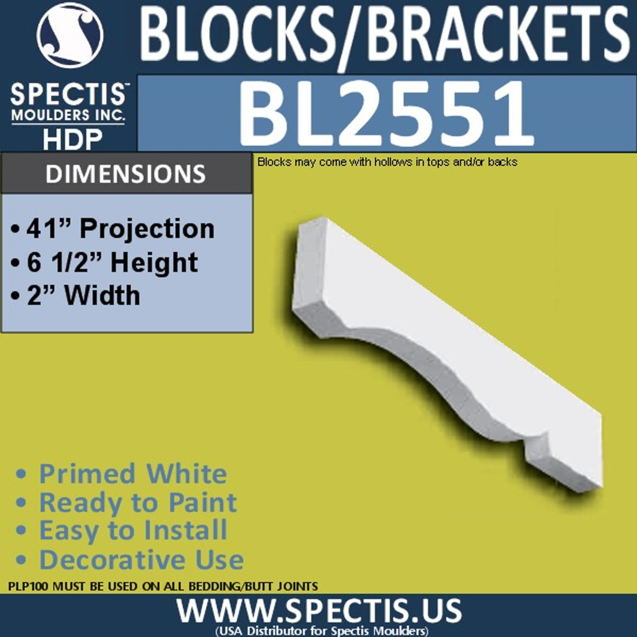 "BL2551 Eave Block or Bracket 2""W x 6.5""H x 41"" P"