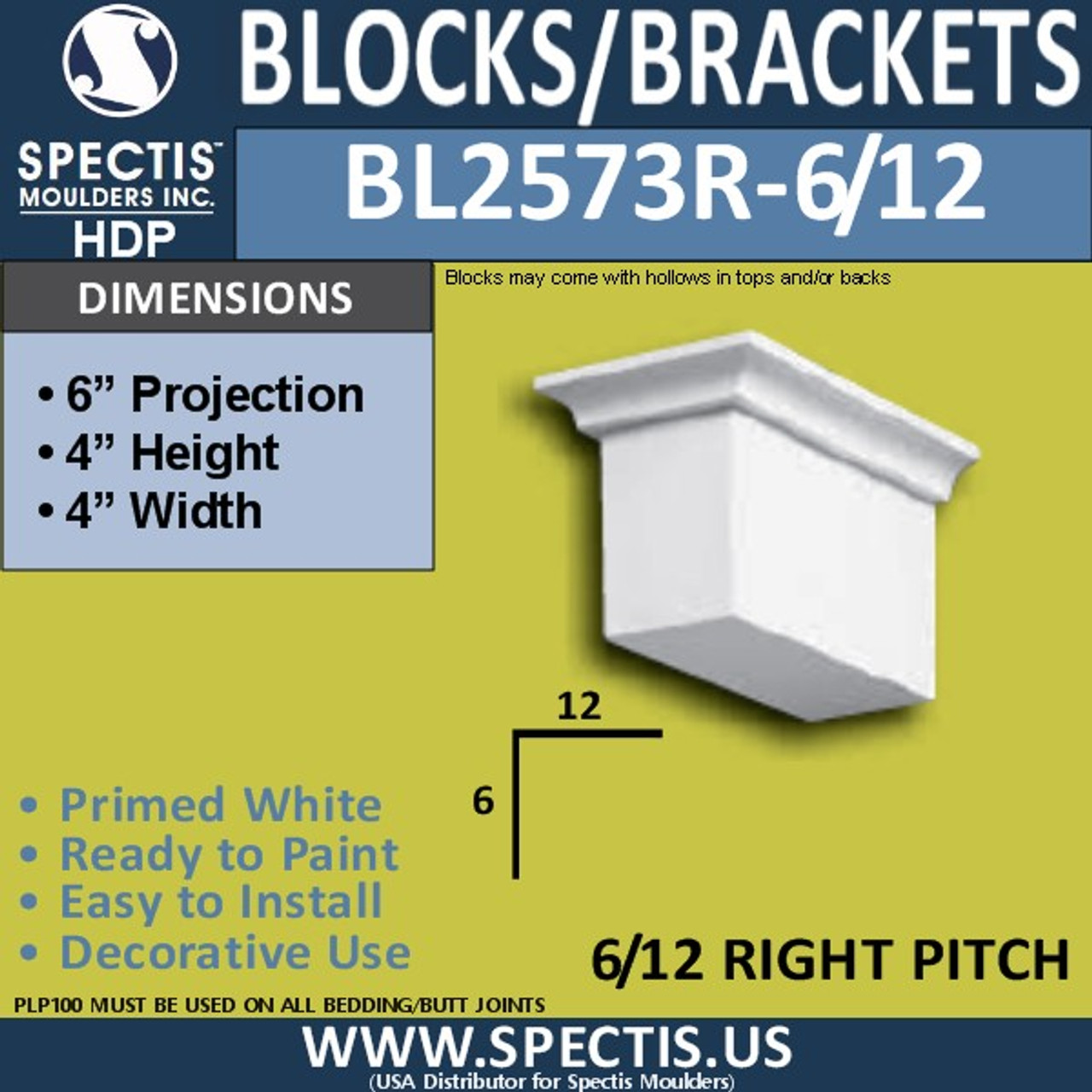 "BL2573R-6/12 Pitch Eave Bracket 3.5""W x 4""H x 6"" P"