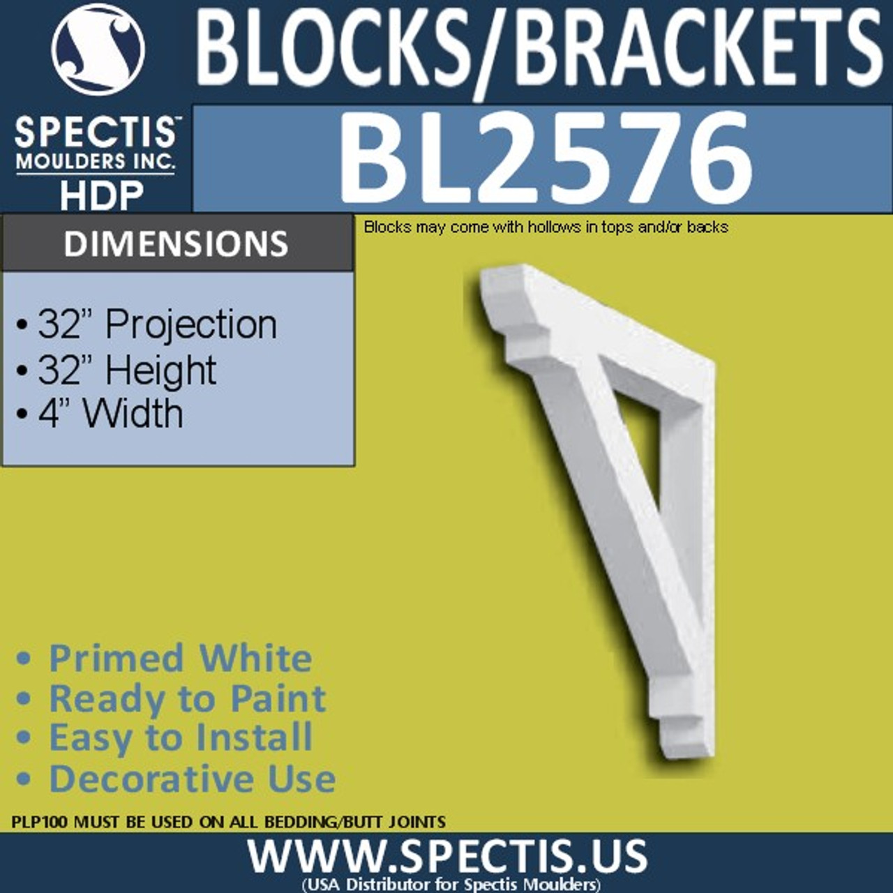 "BL2576 Eave Block or Bracket 4""W x 32""H x 32"" P"