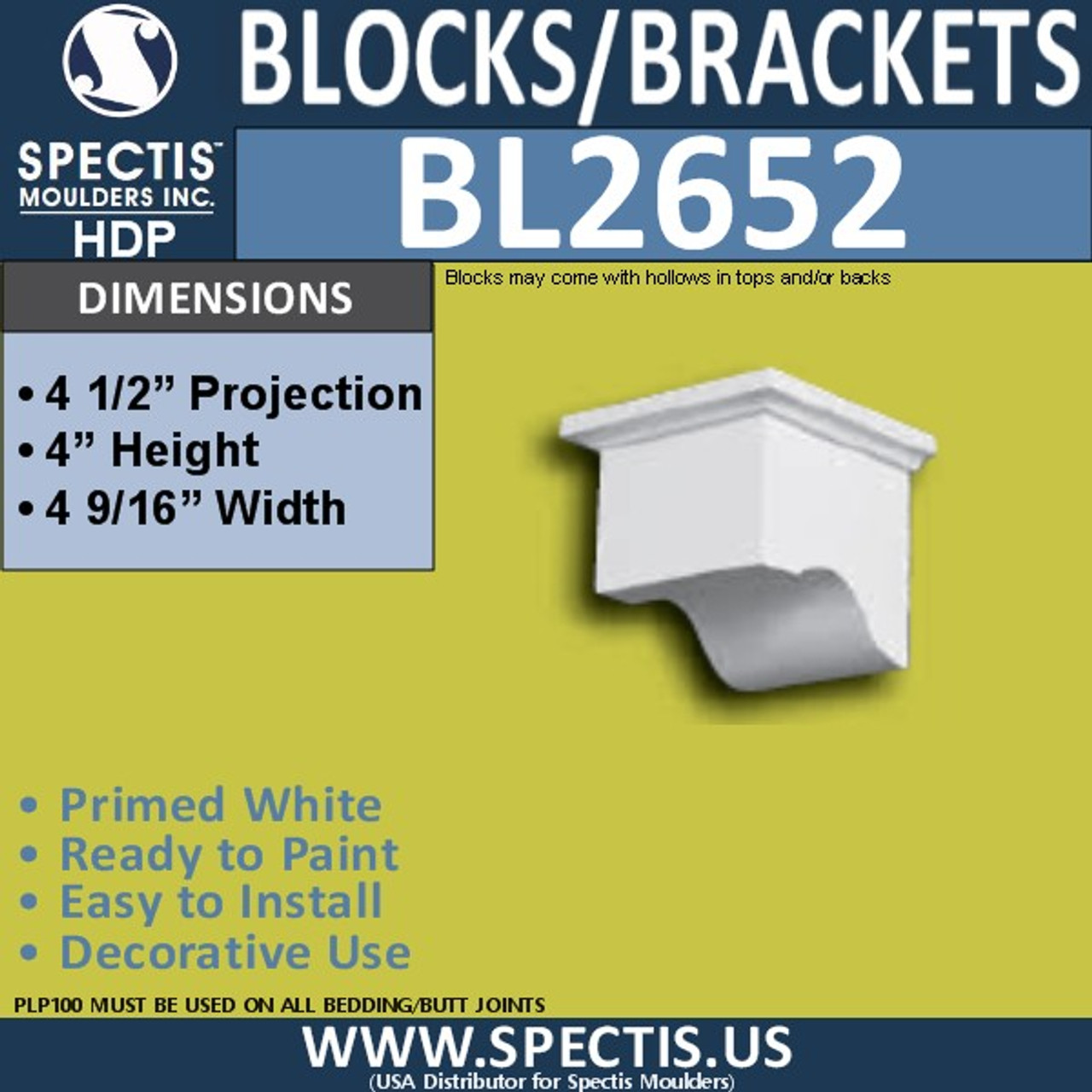 "BL2652 Eave Block or Bracket 4.5""W x 4""H x 4.5"" P"