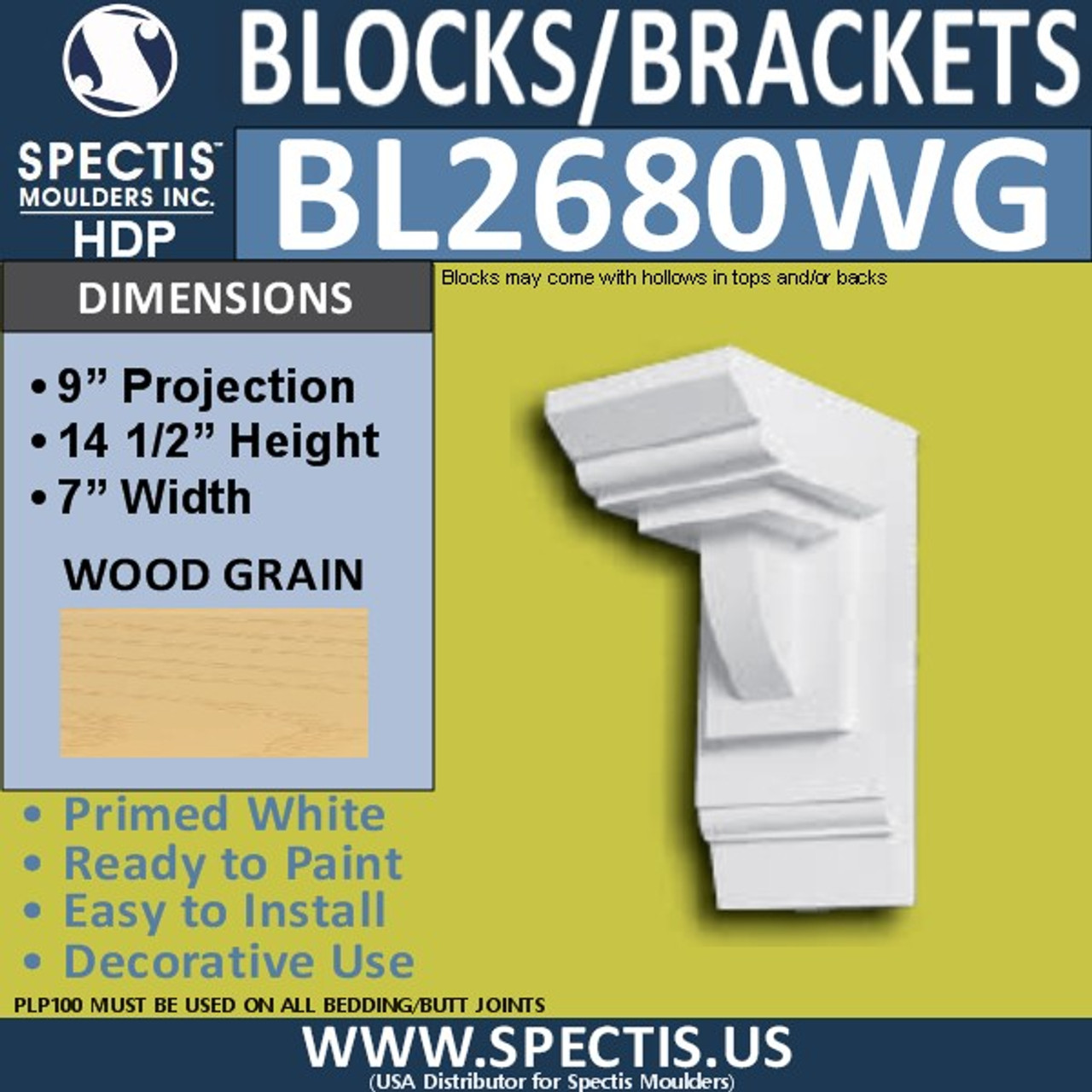 "BL2680 Eave Block or Bracket 7""W x 14.5""H x 9"" P"
