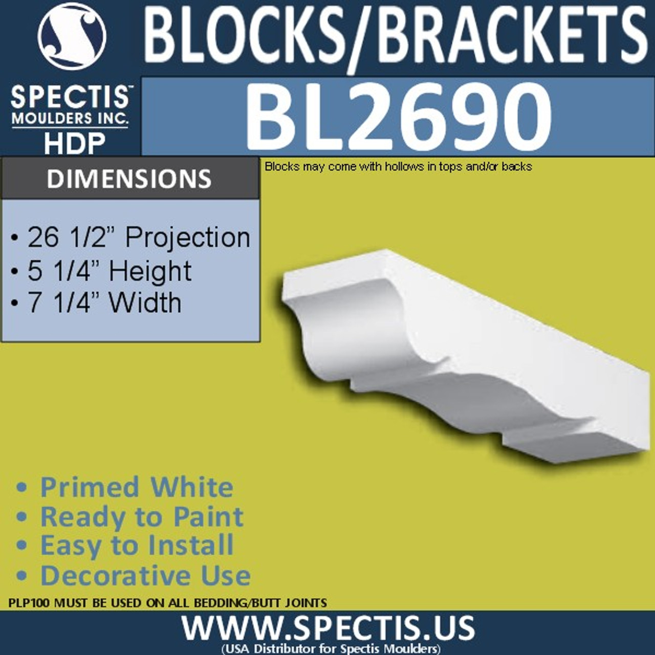 "BL2690 Eave Block or Bracket 7.25""W x 5.25""H x 26.5"" P"