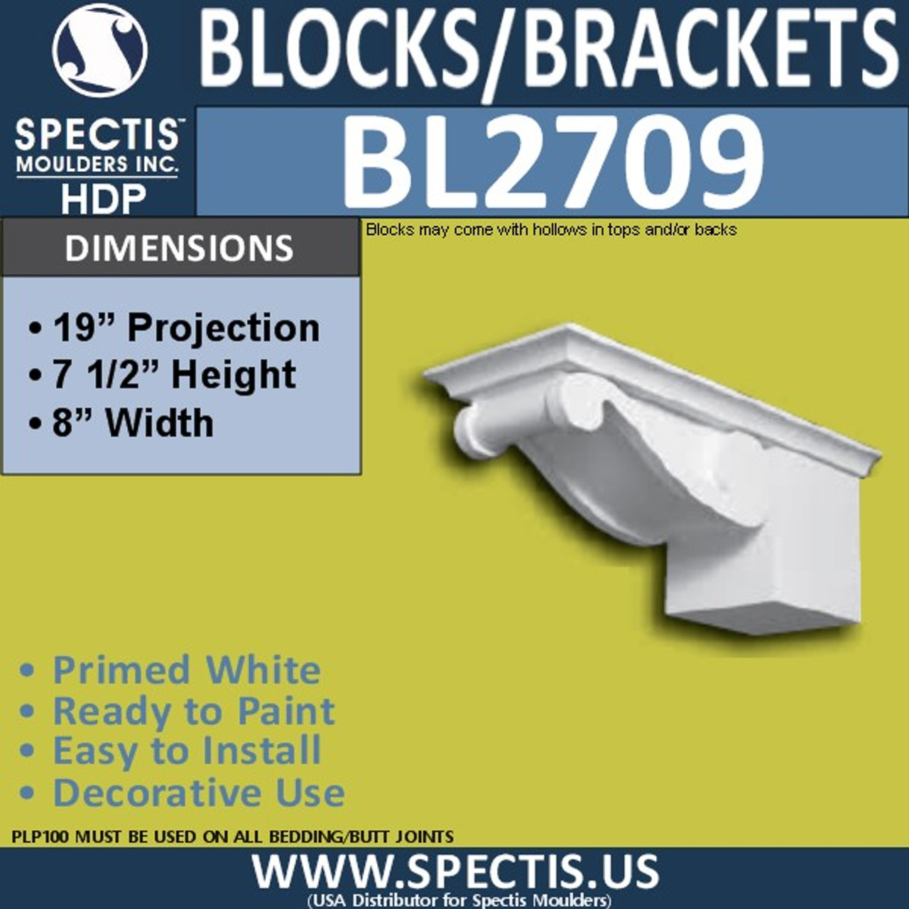 "BL2709 Eave Block or Bracket 6""W x 4""H x 4"" P"
